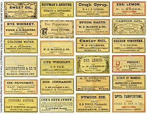 Druggist Apothecary Labels Antique Pharmacy Art Reproductions 2 Sticker Sheets