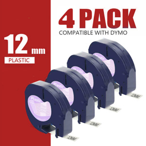 Dymo4 Pk 16952 Letratag Refills Compatible Clear Label Tape Label Maker 12mm Lt
