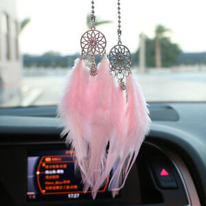 Pink Car Rearview Dream Catcher Interior Decor Accessories Hanging Ornament