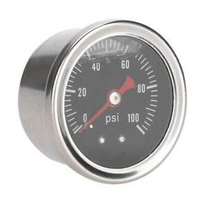 0 100 Psi Bar Car Fuel Pressure Regulator Gauge Liquid Fill Fuel Meter Ll