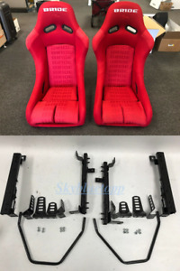 Pair 2 Seats Bride Zieg Black Cloth Low Max Jdm Seat Rails Acura Integra Dc2