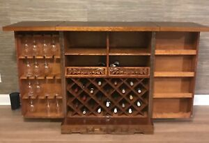 Oriental Antique Liquor Wine Bar Cabinet Wooden Ornamented