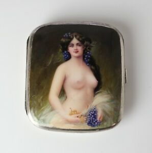 Sterling Silver Enamel Cigarette Case Hand Painted Portrait Of Nude Nymph