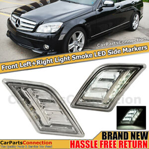 Bumper Side Markers Led Smoke Lens Fender Lamps For Mercedes Benz C Class 08 11