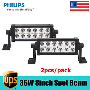 2x 8inch 36w Led Work Light Bar Spot Beam Driving Offroad Lamp 4wd Ute Philips