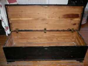 Primitive Antique 54 Long Cedar Blanket Storage Hope Chest