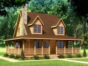 2 Story American Log Homes Cabin Kit 38 X 34 Total 2986 Sq Ft No Reserve