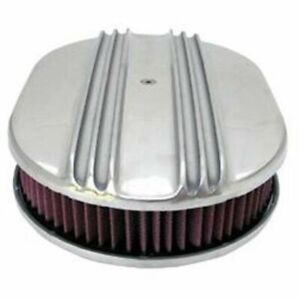 Polished Aluminum Raise Finned 12x2 Oval Washable Filter Element Air Cleaner