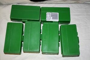 MTM PLASTIC AMMO BOXES (6) GREEN 50 Round 40 S&W  45 ACP - FREE SHIPPING