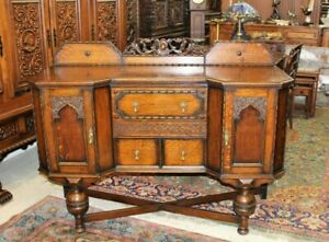 English Antique Tiger Oak Jacobean Sideboard Buffet Bar Cabinet