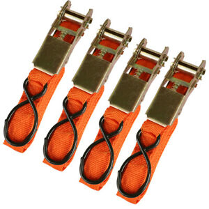 4pack Ratchet Tie Down Straps Motorcycle Truck Towing Cargo Hauling 1 Inchx15ft