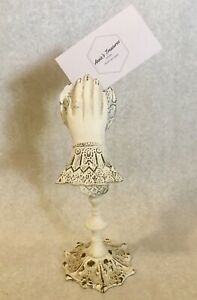 Painted Metal Ladies Hand Stand Clip Photo Card Letter Note Holder Vintage