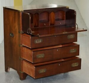 Vintage Military Campaign Chest Of Drawers Built In Secrataire Drop Front Desk