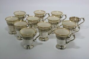 Gorham Durgin Sterling Silver Demitasse Cups Holly With Lenox Liners
