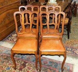 Set Of 4 French Antique Louis Xv Oak Upholstered Chairs Dining Room Furniture
