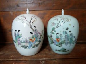 2 Antique Chinese Porcelain Ginger Jars Famille Rose Figures Tao Kuang Dynasty
