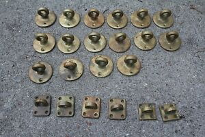 Lot Of Misc Antique Old Solid Brass Hooks Holders Hardware Architectural Vintage