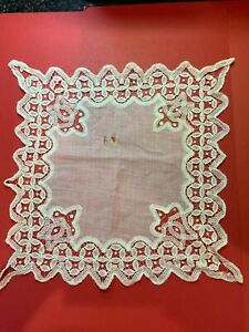 Spectacular But Damaged Antique Victorian Brussels Bobbin Lace Handkerchief