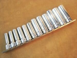Snap On Sfsm No 212sfsmy 3 8 Drive Metric 6 Point Deep Socket Set 8mm To 19mm