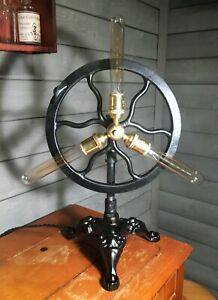 Steampunk Industrial Antique Singer Sewing Machine Treadle Wheel Table Lamp