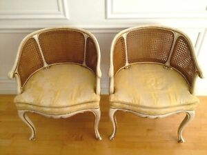 Vintage Karges French Double Caned Barrel Back Armchairs Pair