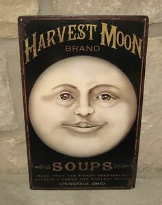 Moon Face Metal Sign Message Board Primitive French Country Farmhouse Decor New