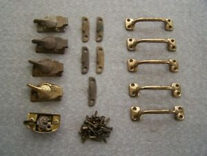 Lot Of 5 Vintage Brass Window Sash Locks 4 Lift Handles With 40 Screws