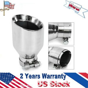 Universal Stainless Steel Exhaust Tip Pipe Angle Cut 2 5 Inlet 4 5 Outlet