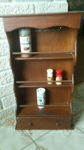 Antique Vintage Wood Spice Rack Display Cabinet 1 Drawers Wall Mounted Kitchen