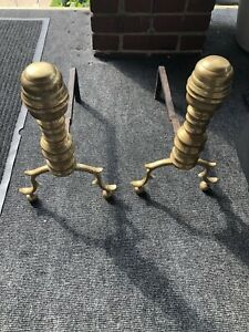 Vintage Antique Pair Of Brass Cast Iron Fireplace Andirons Approx 14 Tall