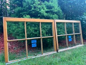 2 31 X 23 Vintage Window Sash Old 6 Pane From 1960s Arts Crafts