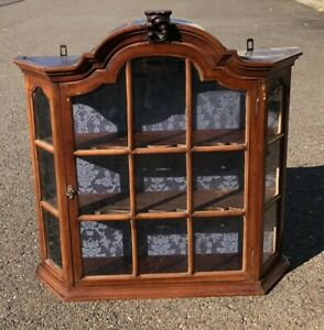 19thc Antique Victorian Era Hanging Curio Divided Glass Wall Cabinet Arched