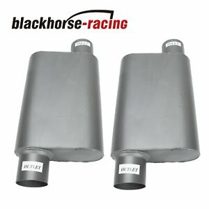 Pair Of 3 Inlet 3 Outlet Mufflers Weld Chambered Performance Race Offset
