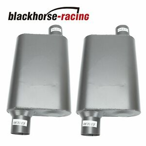Pair Chambered Performance Race Offset 2 5 Inlet N2 5 Outlet Mufflers Weld On