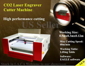 40w E 5030 Co2 Laser Engraving Machine Laser Engraver Cutter Lifting Table Eagle
