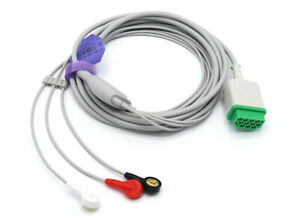 Ge Marquette Dash Pro Tram 11 Pin 3 Leads Snap Ecg Cable Same Day Shipping