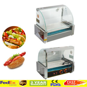 Commercial 7 Roller 18 Hot Dog Hotdog Grill Cooker Machine W Cover Easy Use
