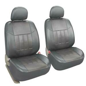 2pcs Leather Front Seat Covers With Headrest Cover Universal For Car Truck Suv