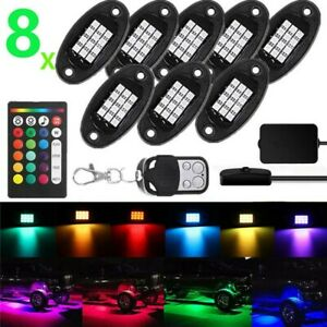 8pcs Rgb Led Rock Lights Wireless Rf Music Dual Remote Offroad Lamp Truck Boat