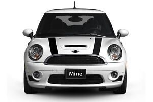 Mini Cooper 2002 2006 Black And White Hood Stripe Decals Exact Fit No Trimming