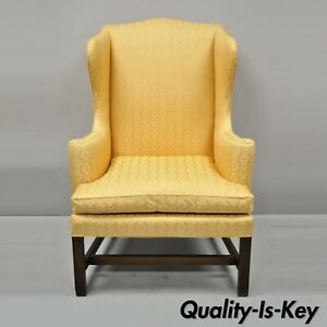 Kittinger Cw 12 Colonial Williamsburg Gold Wing Wingback Mahogany Wing Chair
