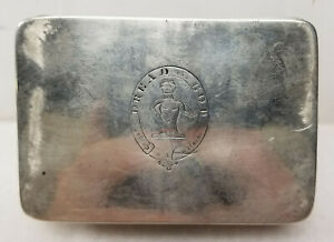 Antique English Silver Or Sheffield Silver Plate Snuff Box Engraved Dread God