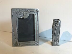 Arts Crafts Style Photograph Frame And Matching Bud Vase