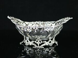 Antique 1894 Gorham Ornate Reticulated Repousse Sterling Silver Footed Bowl