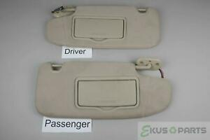 2006 2012 Ford Fusion Mkz Sun Visor Set With Covered Lighted Mirrors Adjust Bars