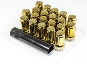 20pc 12x1 5 Gold Spline Lug Nuts Conical Seating Closed End