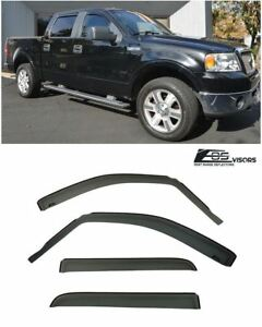 For 04 08 Ford F 150 Truck Crew Cab In Channel Side Window Frame Rain Deflectors