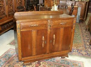 English Antique Oak Art Deco Sideboard Buffet Wine Bar Cabinet