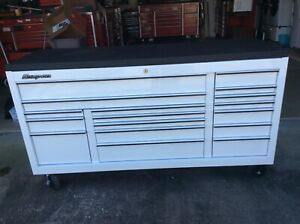 Snap On Snapon Snap on White Kra2423 Tool Cabinet With Rhino Stainless Steel Top