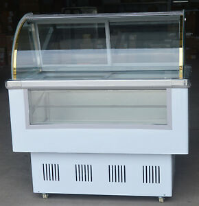 220v 12 Pan Hard Ice Cream Dipping Cabinet Freezer Display Cabinet Us New